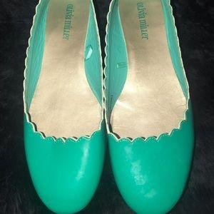 Olivia Miller  scalloped flats Tiffany blue/green
